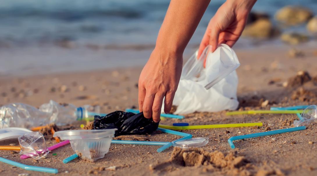 Voluntario recogiendo basura plástica en una playa.